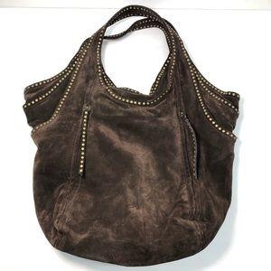 Kooba Brown Suede Bronze Studded Pleat Hobo Tote Bag